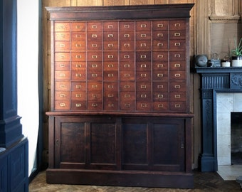 LARGE Antique Apothecary Cabinet, Multi Drawer Card Catalog, General Store Cabinet, Industrial Farmhouse Drawer Unit