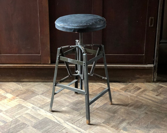 Antique Industrial Stool, Metal Desk Stool, Drafting Stool, Industrial Office Furniture, Industrial Bar Stool