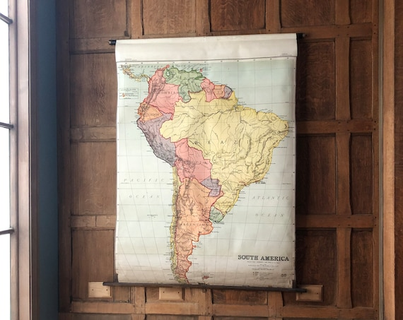 Antique South America School Map, Map Of South America Pull Down Map Chart, Map Wall Hanging, Vintage Map Wall Art
