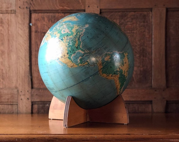 Large Vintage World Globe, 16 inch globe, Physical Political World Globe With Stand, Vintage Desk Top Globe