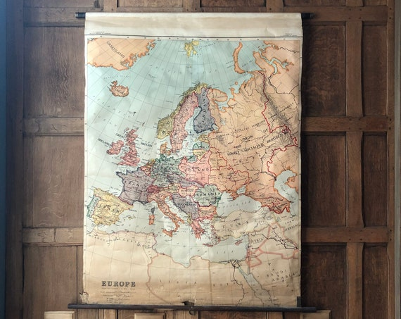 Antique Europe School Map, Map Of Europe Pull Down Map Chart, Map Wall Hanging, Vintage Map Wall Art