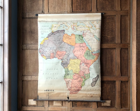 Antique Africa School Map, Pull Down Map Chart, Map Wall Hanging, Vintage Map Wall Art