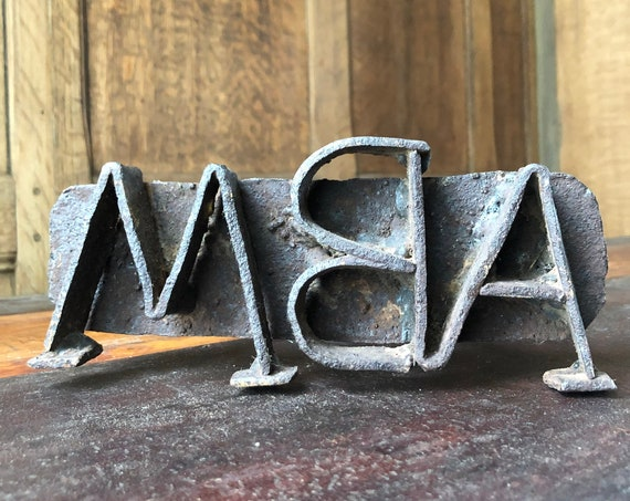 Antique Branding Iron, Letters ABM, Southwestern Decor, Western Decor, Ranch Decor, Rustic Home Decor, Cattle Branding Iron