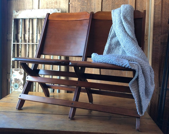 Vintage Wood Theater Seats, Set Of Two Wood Stadium Seats,  Entryway Bench, Wood Church Pew