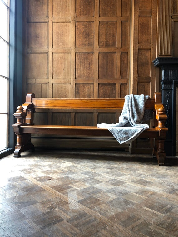 Antique Church Pew, Oak Entryway Bench, Ornate Oak Pew, Primitive Wooden Church Bench, Theater Seats, Wood Bench
