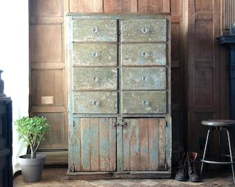 Antique Farmhouse Cabinet, Primitive Drawer Unit, Chippy Kitchen Storage Cabinet, Antique Entryway Cabinet