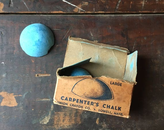 Antique Carpenters Chalk And Original Box, Carpenters Gift, Vintage Woodworking, Woodworkers Gift,