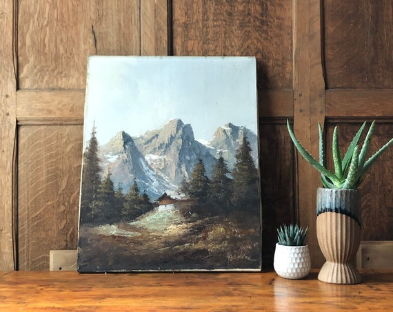 Vintage Oil Painting On Canvas, Mountain Cabin Scene, Mountain Wall Art, Cabin Decor, Mountain Painting, Oil On Canvas Mountain Art
