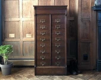 Antique Oak File Cabinet, Guillotine Door Card Catalog, Sorting Unit, Antique Apothecary, Antique Drawer Unit