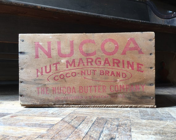 Vintage Nucoa Nut Margarine Rustic Wood Crate, Antique Wood Box, Kitchen Storage Decor