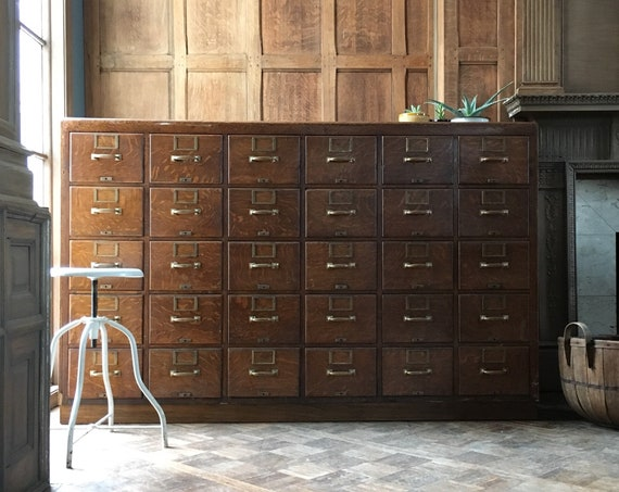 Antique Oak Card File Cabinet, Large Card Catalog, Apothecary Drawer Unit, Industrial Farmhouse Furniture