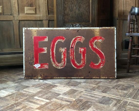 Antique Eggs Sign, Eggs Farm Sign, Hand Painted Trade Sign, Rustic Farmhouse Decor, Antique Kitchen Sign, Restaurant Decor