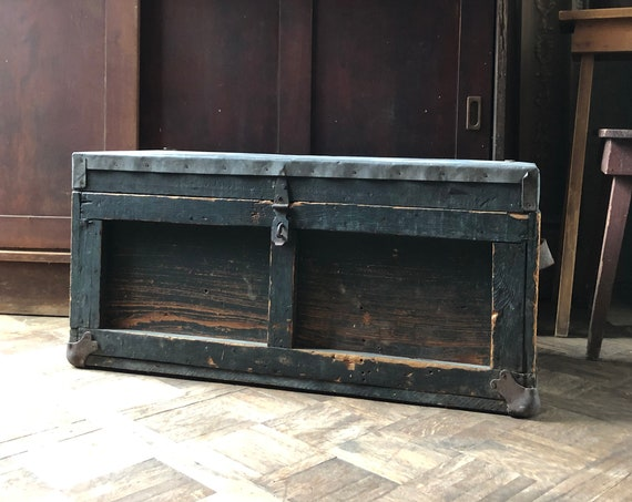 Antique Trunk, Metal Top Trunk, Antique Toolbox Trunk, Wood Toolbox, Storage Bin, Trunk Coffee Table, Industrial Coffee Table