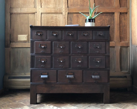 Antique Card Catalog, Oak Card File, Yawman And Erbe, Storage Cabinet, Vintage Drawer Unit, Apothecary Cabinet