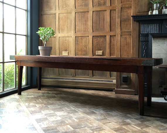 Low Primitive Console Table Trough, 8 FT Long, General Store Display Table, Antique Wood Sofa Table, Antique Industrial Table