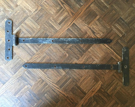 LARGE Antique Hinges, Barn Door Hardware, Barn Door Hinges, Iron Gate Hinges, Pair of Hinges