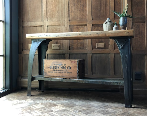 Antique Industrial Console Table, Cast Iron Leg Workbench, Rustic Console Table, Industrial Sofa Table, Entryway Table