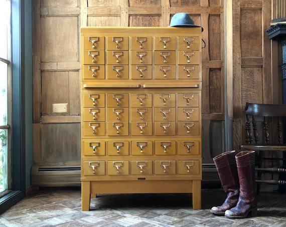 Antique Card Catalog, Maple and Brass Card File, Storage Cabinet, Vintage Drawer Unit, Mid Century Furniture, Apothecary Cabinet