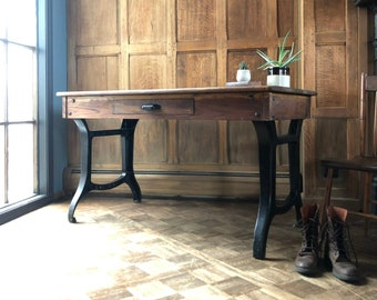 Antique Industrial Desk with Single Drawer, Industrial Entryway Table, Cast Iron Leg Desk, Vintage Workbench Table
