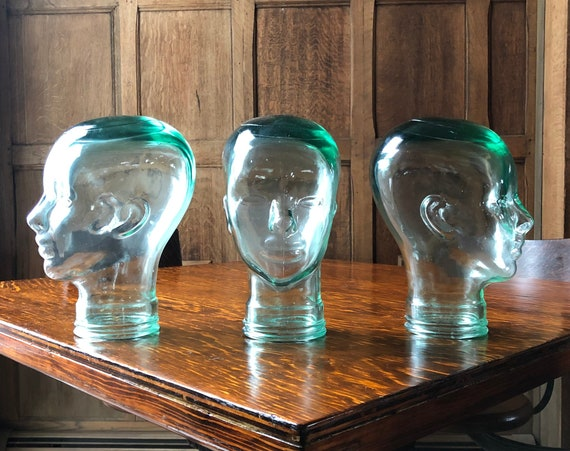 Trio of Glass Mannequin Heads, Vintage Hat Stands, Set of Three, Antique Jewelry Stand, Glass Head Bust