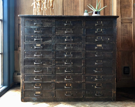 Industrial Multi Drawer Cabinet, Vintage Apothecary Cabinet, Farmhouse Cabinet with Drawers, Jewelry Storage, Craft Storage