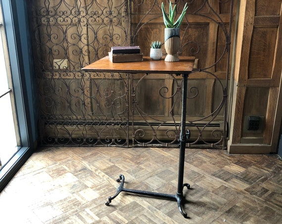 Antique Adjustable Side Table, Medical Bedside Table, Industrial Side Table, Victorian Cast Iron Table, Standing Desk