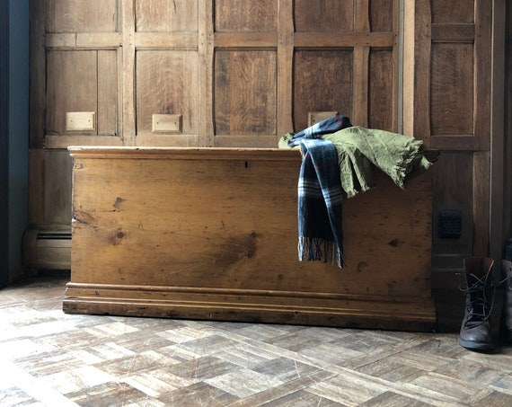Antique Pine Trunk, Primitive Wood Trunk, Large Storage Trunk, Trunk Coffee Table, Farmhouse Trunk