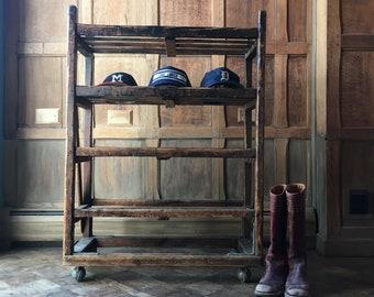 Antique Bakers Rack, Early 1900s Wood Bakers Rack, Industrial Shelving,  Rustic Wine Rack, Shoe Rack
