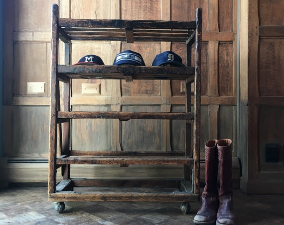 Antique Bakers Rack, Early 1900s Wood Bakers Rack, Industrial Shelving, Rustic Wine Rack, Shoe Rack