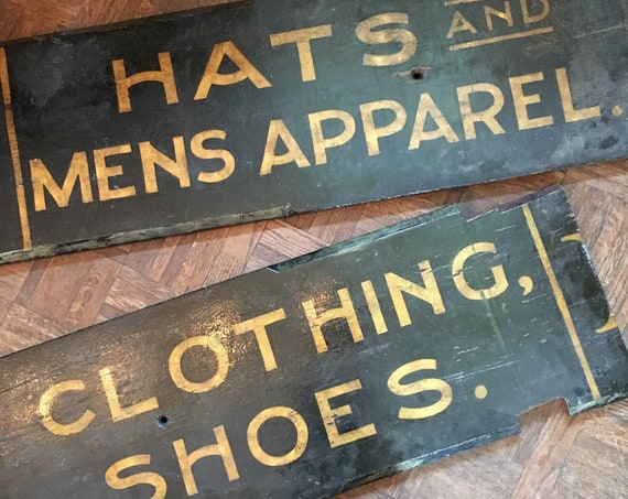 Large Antique Trade Sign, Clothing, Shoes, Hats And Mens Apparel Sign Reflective Schmaltz Sand Paint Sign
