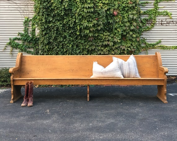 Antique Church Pew Bench, 9.5 Foot Bench, Entryway Bench, Wooden Church Bench, Primitive Bench