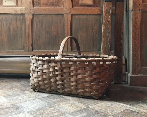 Large Antique Splint Basket, Woven Wood Basket, Blanket Basket, Decorative Storage