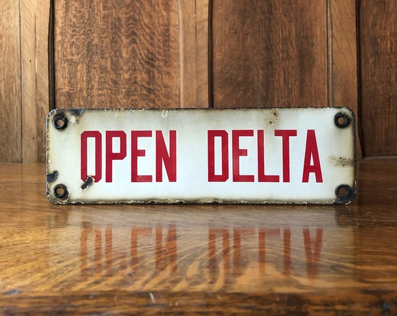 Vintage Porcelain Open Delta Sign, Vintage Electrical Sign, Electrical Pole Sign, Man Cave Sign, Garage Sign