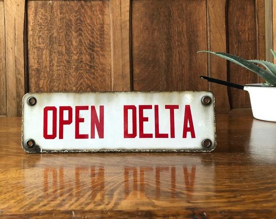 Vintage Porcelain Open Delta Sign, Vintage Electrical Sign, Electrical Pole Sign, Man Cave Sign, Garage Sign,