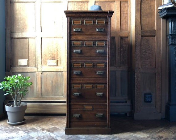 Antique Oak File Cabinet, Multi Drawer Unit, Apothecary Cabinet, Industrial Farmhouse Furniture, Office Furniture