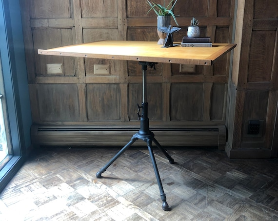 Antique Drafting Table, Adjustable Artist Table, Industrial Desk, Cast Iron Table, Standing Desk, Drawing Desk