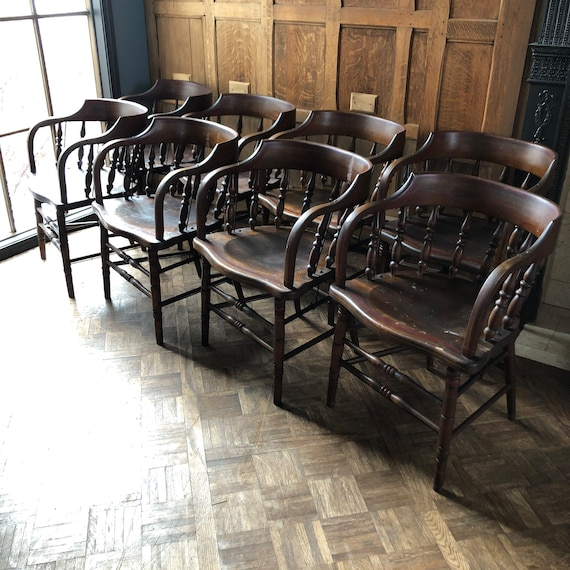 Antique Hardwood Tavern Chairs, Set of 8 Chairs, Old Lodge Dining Chair Set, Primitive Chairs Set