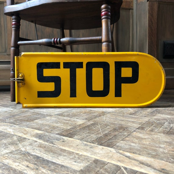 Vintage Yellow Stop Sign, School Bus Stop Sign, Traffic Sign, Kids Room Sign, Garage Sign