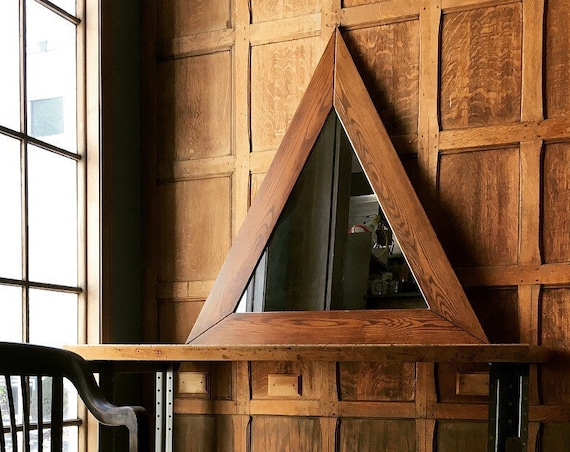LARGE Triangle Mirror, Vintage Geometric Mirror, Large Oak Triangle Wall Mirror, Statement Mirror