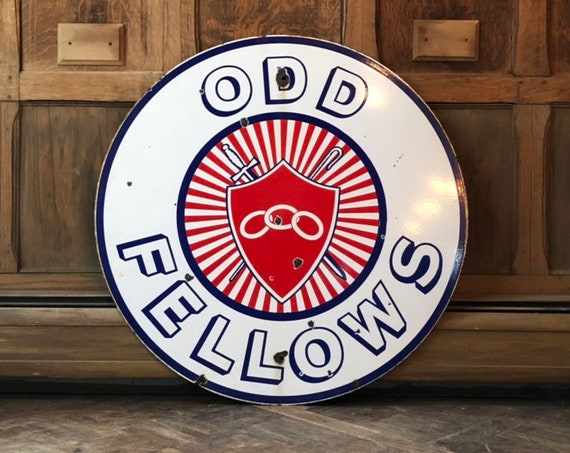 Vintage Odd Fellows Porcelain Sign, Large IOOF Lodge Sign, Red White And Blue Americana Decor