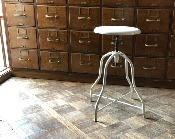 Adjustable Stool, Industrial Stool, Metal Desk Stool, Vintage Drafting Stool, Industrial Office Furniture