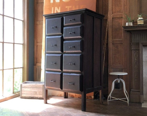 Antique Railroad Drawer Unit, Industrial Apothecary Cabinet, Antique Wood Dresser, Industrial Furniture