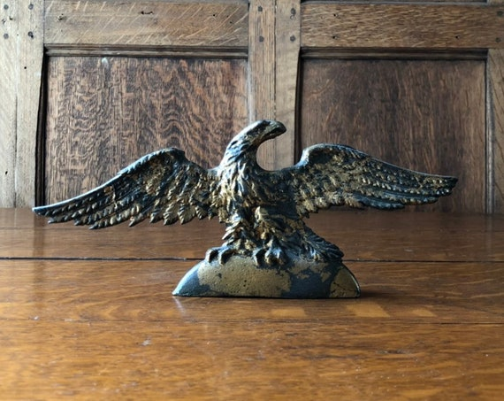 Antique Statue, American Eagle Figurine, Gold Eagle, Americana Decor, Industrial Office, Fourth Of July Decor