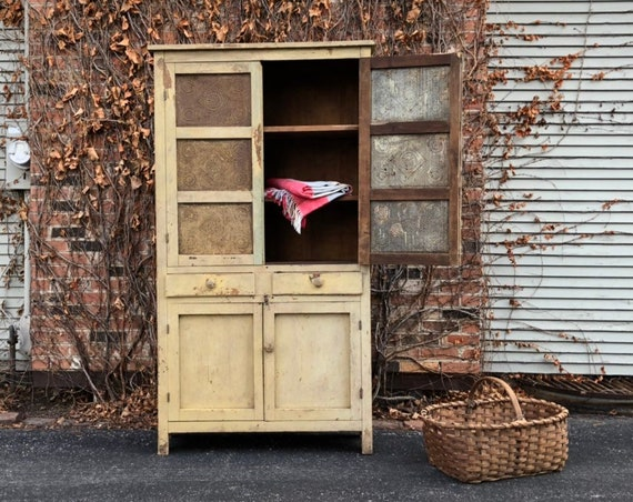 Antique Pie Safe Cupboard, Primitive Farmhouse Cabinet, Large Chippy Hutch, Storage Cabinet