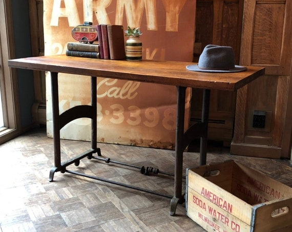 Industrial Workbench Table, Industrial Desk, Distressed Workbench Table, Vintage Wood and Metal Desk End Table