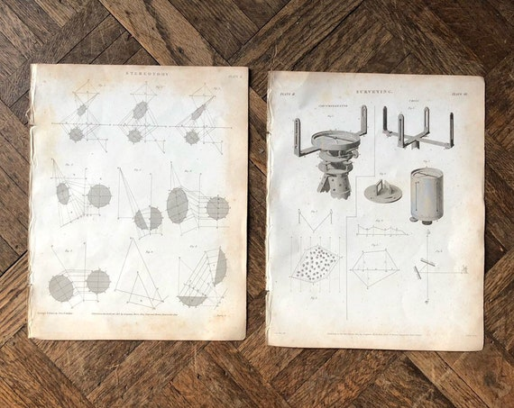 Pair Of Surveying Prints, Lot of 2, 1800s Original Black And White Architectural Surveying Stereotomy Lithograph Picture, Surveyor Gifts