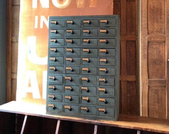 Vintage Hardware Storage, Wood Parts Cabinet, Handmade Drawer Unit, Industrial Storage
