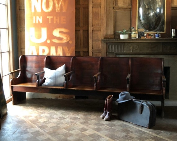 Antique Train Station Bench, LARGE 10 FT Railroad Bench, Antique Waiting Room Bench, Entryway Bench, Church Pew, Barber Shop Bench