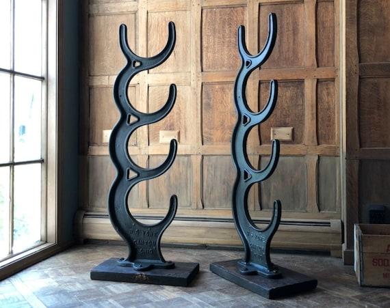 Antique Industrial Material Racks, LARGE Cast Iron Line Shaft Rod Storage Racks, Industrial Display, Industrial Decor, Industrial Office