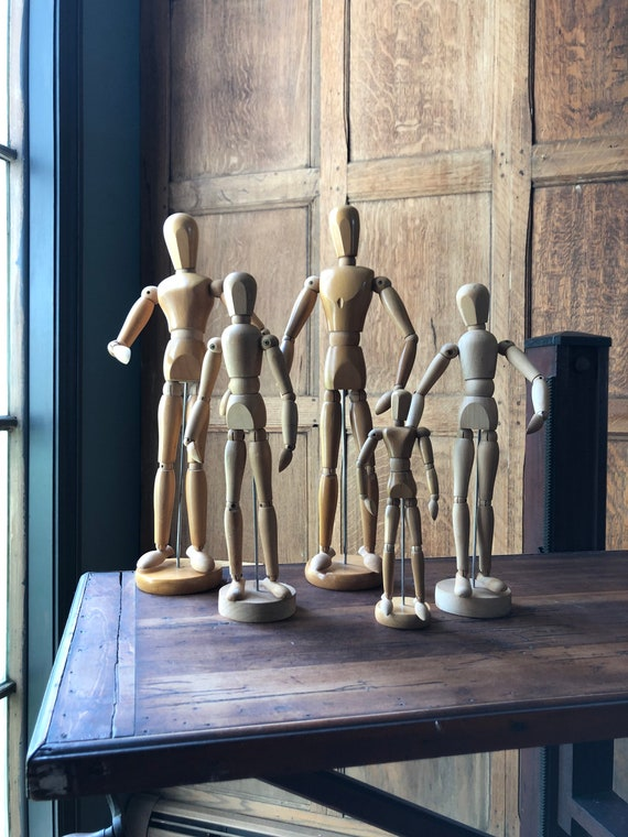 Vintage Wood Art Mannequins, Set Of Five Manikins, Poseable Manikin, Anatomical Models, Small Wood Manikin With Stand